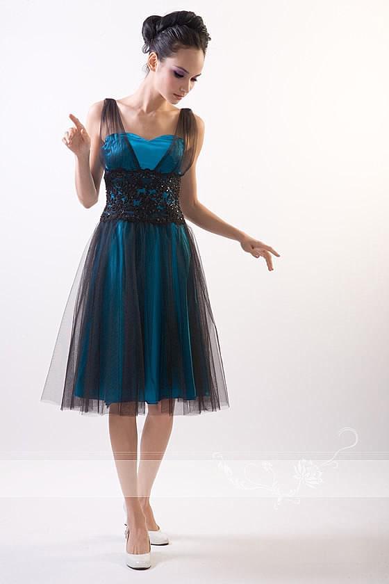 Вечернее платье, открытое декольте в форме сердечки, на бретельках, из сатина + фатина HGN-Spring-ED09