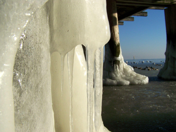 Molo od spodu #zima #molo #snieg #lod