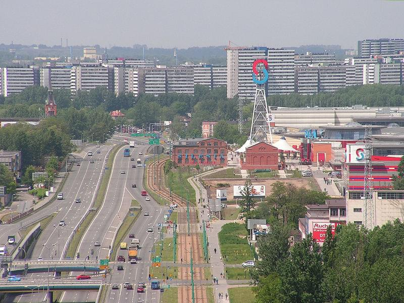 Chorzowska St, Silesia City Center on the right, Tysiąclesia housing estate district at the horizon