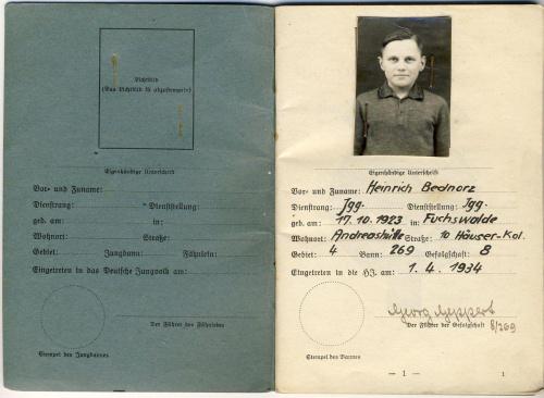 U-Boot U-173 Bednorz Heinrich MtrGfr Leistungsbuch Hitler Jugend